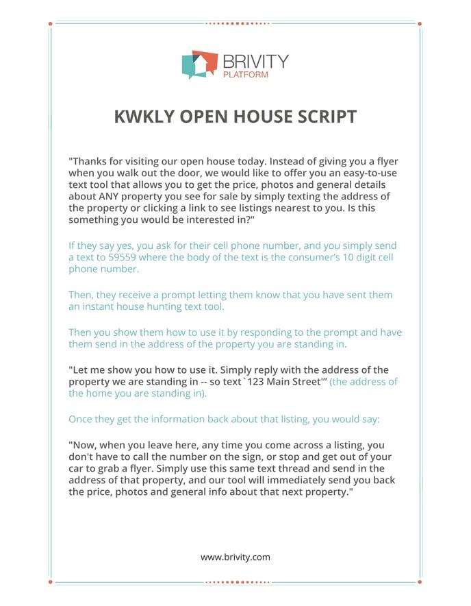Ben Kinneys Kwkly Open House Script