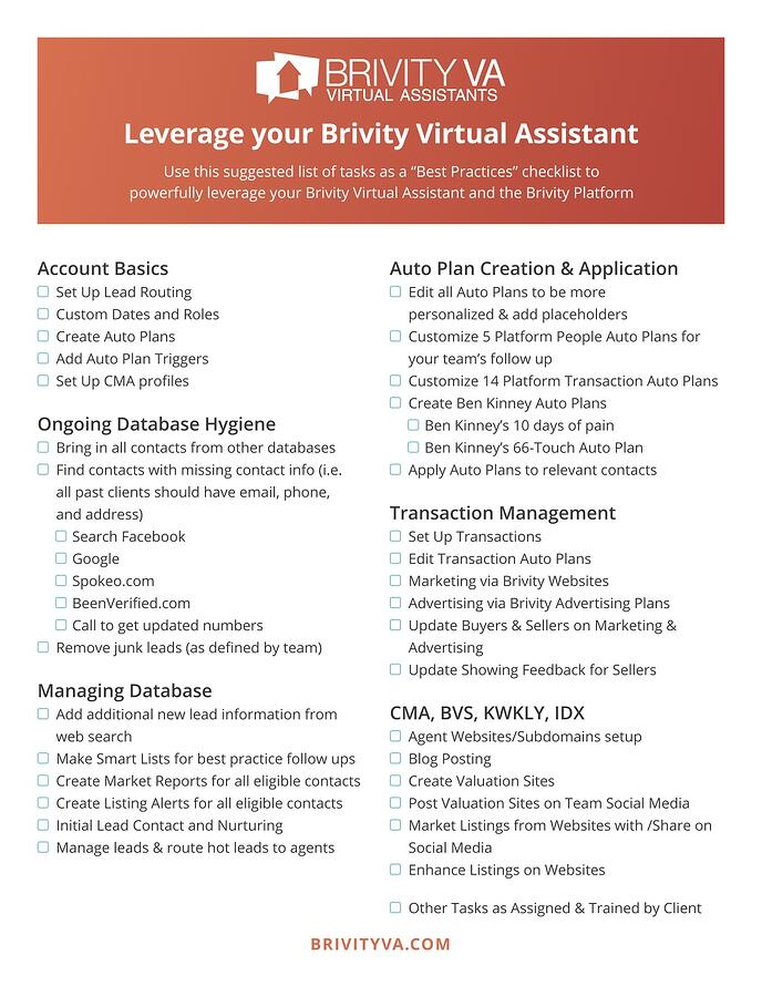 Brivity VA Tasks pdf