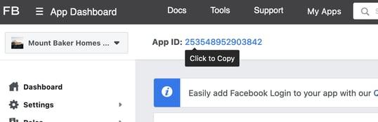 Click to copy app ID